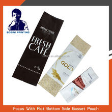 FOOD GRADE plastic coffee bean packaging bag with side gusset