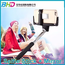 Design 2015 Extendable wired Handheld D09 Monopod selfie stick mirror monopod + mirror +tripod