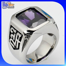 wholesale cheap vintage style titanium stainless steel mens ring with amethyst