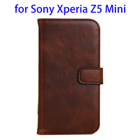 Hot selling wallet photo frame pu leather case for Sony Xperia Z5 Mini