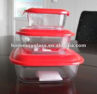 rectangle glass food container /glass storage set /glass canister for gift