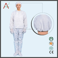 white and blue color non woven esd fabric for cleanroom coverall