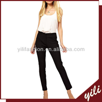 ladies black sexy high waist skinny pants with metal zipper design