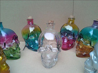 Hot Item Skull Glass Bottle, Vodka/Whisky/Brandy Colored Glass Bottle
