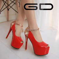 Fashion patent leather women high heel platform bridal wedding shoes