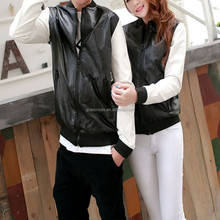 2015 Wholesales Fashion Leather PU Genuine Cheap Faux Leather Jacket With High Quality For Leather Coat