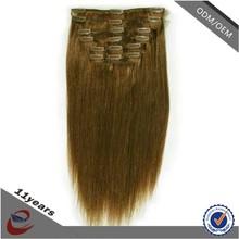 cheap Malaysian silky straight 100% human hair clip in hair extension