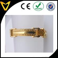 Fashion men bracelet,gold plated heavy stainless steel bracelet,magnetic charm watch bracelet gold stainless steel men bracelet