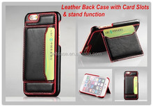 2015 Brand New Design Leather Back Case for iPhone 6 Leather Case with stand & card slots