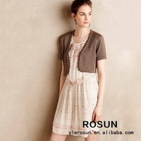 Brown Short Sleeve Spring Shrug Designs For Women
