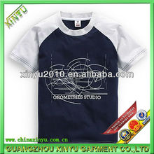 Custom made two tone childrens printed cotton t shirt