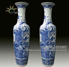 2.2 Meter And 6 Feet Tall Chinese Hand Painted Large Decorative Floor Ceramic Vases