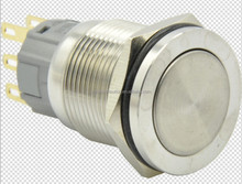 CE ROHS 2015 Hot sale New Hyperplane IP67 19mm momentary/latching type flat round push button switch