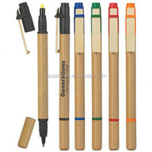 dual function eco friendly pen highlighter; plastic pen; custom pen(LU-Q52723)