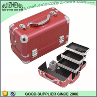 2015 fashion custom aluminum frame red panel cosmetic case