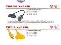 UL power cord extension with 4 outlet and the cable lengthe 10 feet