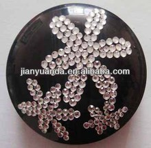 Beautiful crystal layout LED gift pocket mirror with double sides