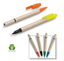 New Promotion Eco-Logical Pen with Highlighter ECO Highlighter Paper Highlighter
