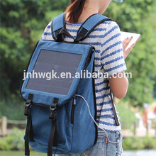 Camping & Hiking Use Solar school backpack /Backpack with solar panel for mobile recharger & jumbo travel bag