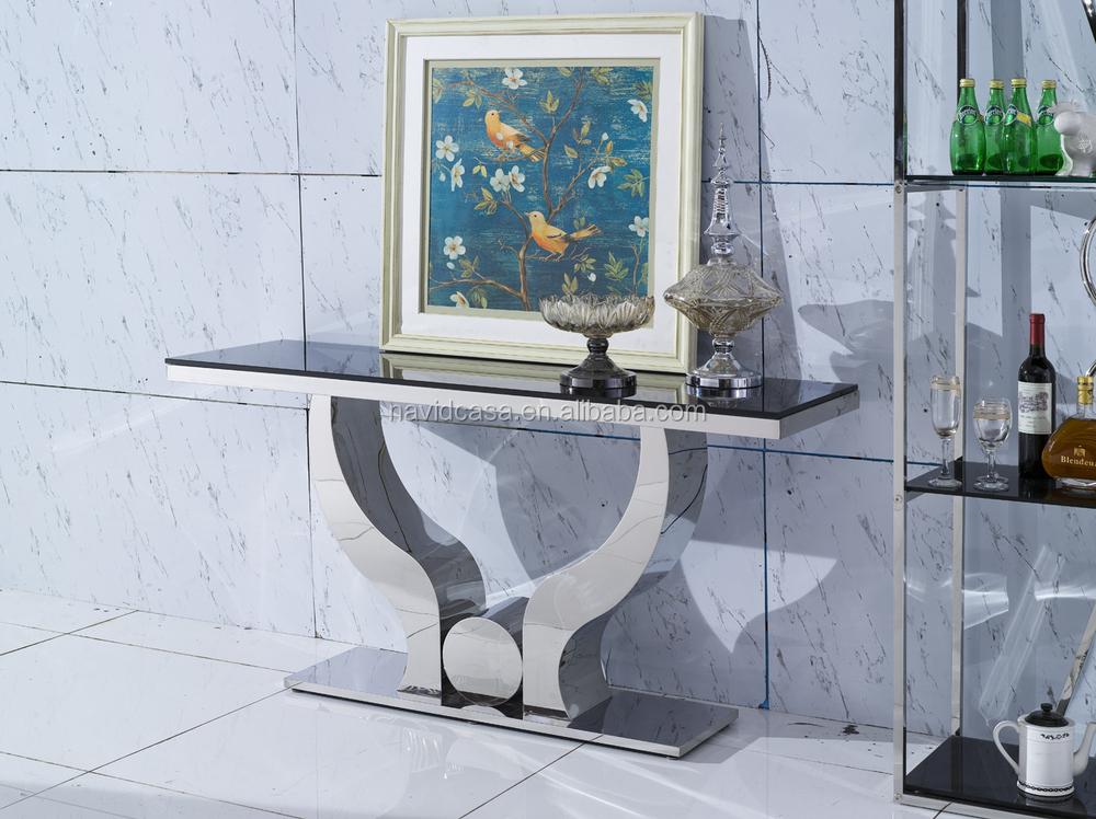 C8035 miroir en acier inoxydable table console avec miroir for Console avec miroir