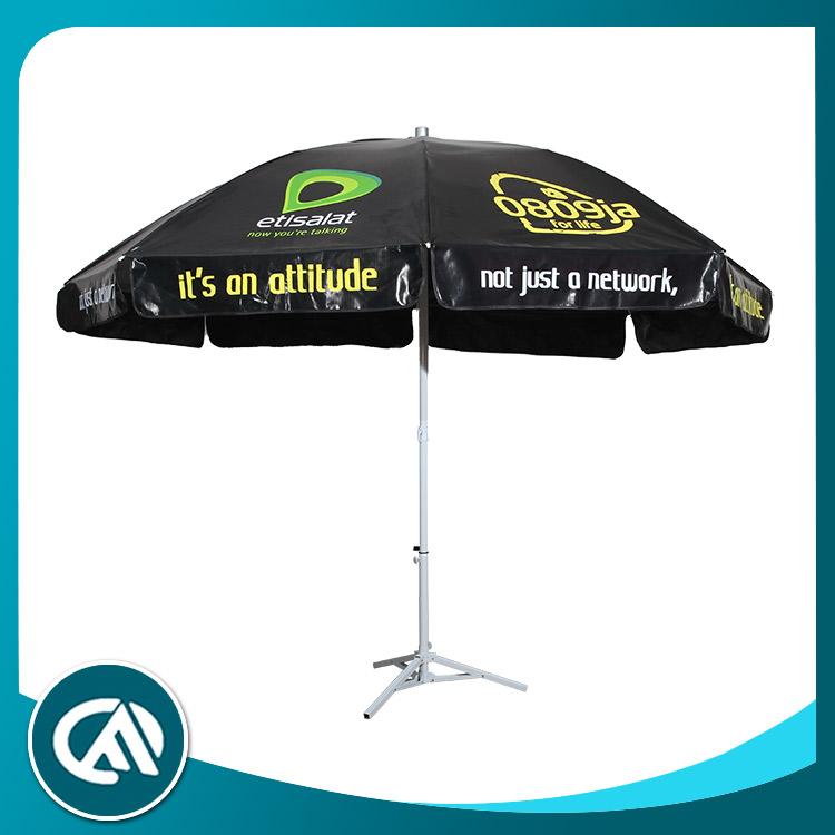Impresión personalizada reflectante francés mercado barato negro paraguas