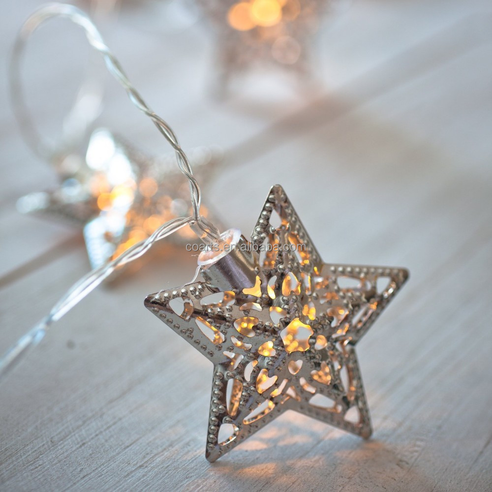 Christmas star light silver battery operated led