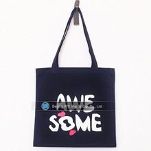 Luxury black 10oz cotton tote cosmetic canvas drawstring bag