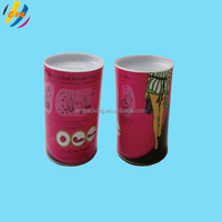 Recycled round paper can with plastic end cap