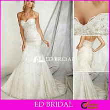 Latest Bridal Wedding Gowns Pictures Trumpet Mermaid Sweetheart Beaded Lace Applique Bridal Gowns