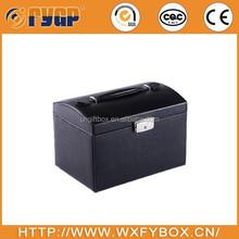 customized black PU leather jewelry box with foam insert,cardboard forming