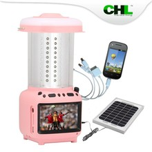 2015 Rechargeable CHL solar led solar camping light with usb