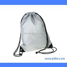 Silver Color Nylon Promotion Drawstring Backpack Bag