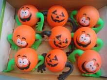 Best selling Halloween new fancy gifts, pumpkin puffer ball with hands