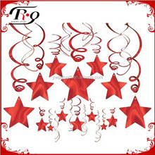 baby shower supplies red foil star hanging decoration
