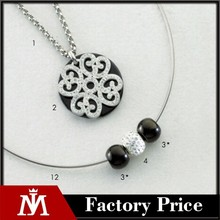 2015 MJ Jewelry crystal bead collar women silver pendant necklace with stainless steel