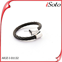 01132 Wire cable jewelry black jewelry stainless steel cable adjustable ring