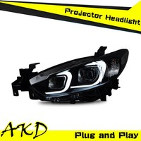 AKD Car Styling MAZDA 6 LED Headlight 2014 MAZDA6 Headlights MAZDA 6 Head Lamp Projector Bi Xenon Hid H7