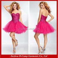 OD-196 2015 new arrival fuchsia plus size party dress wedding party dresses for adult