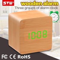wooden travel vibrating digital led alarm clock