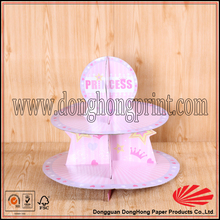 Recyclable cardboard 2-layer pink cup cake stand