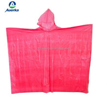 disposable raincoat/ one time use rain poncho / PE material rain oncho with color logo printing