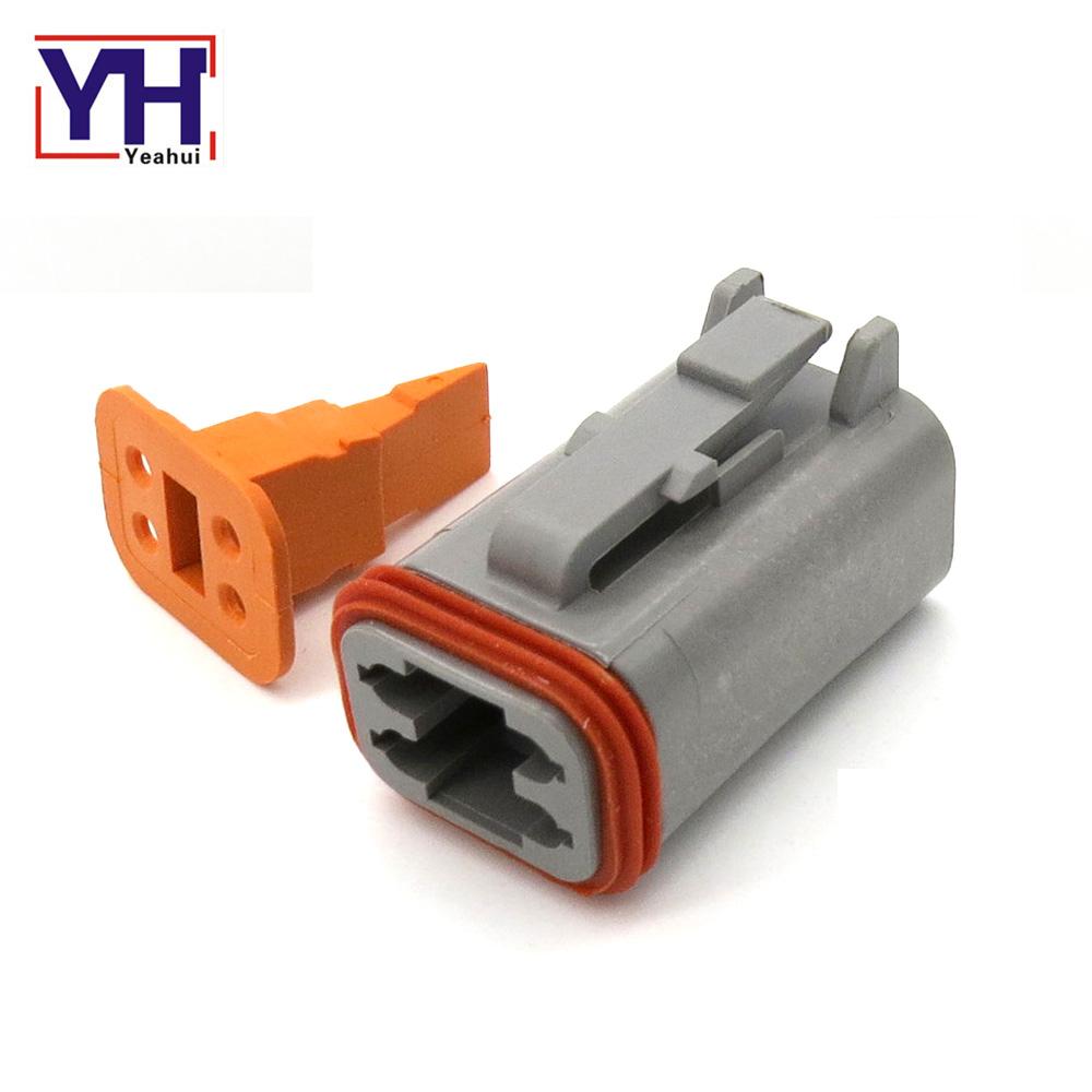 cnkf 5 Sets Deutsch DT Series 2 pin negro impermeable Auto Conectores macho a hembra DT06-2S-E005//DT04-2P-E005