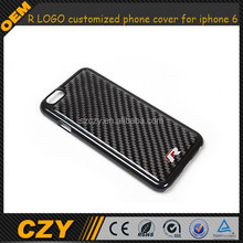 R LOGO Carbon Fiber customized phone cover for iphone 6