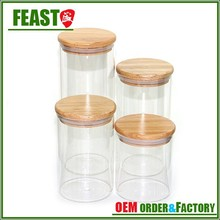 12 Oz glass jar with wooden lid and spoon Cylinder glass jars airtight lid Fashion kitchen glass jar with wooden lid