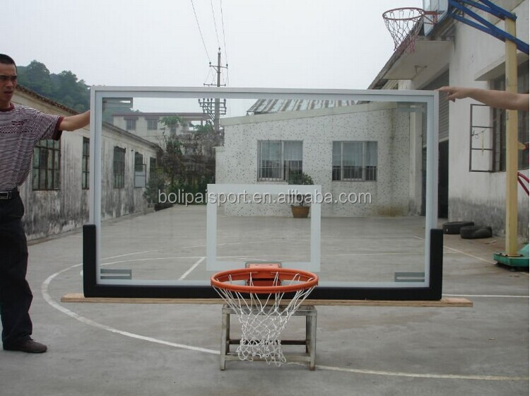 Safety unbreakable 12mm tempered glass basketball backboards with PU padding