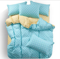 New design big points printed solid light blue and yellow Chinese polyester bedding set