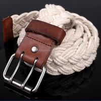 Custom new design fashion cotton braided lady belt