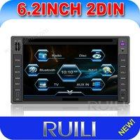 6.2 inch 2 din car dvd built-in gps/bluetooth/am/fm radio/tv
