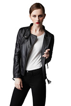 New Fashion Ladies Leather Jacket with Zipper Genuine Leather Jacket for Woman