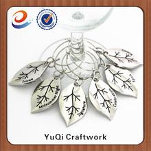 name wine charms metal leaf shape fashion design for wine glass decoration